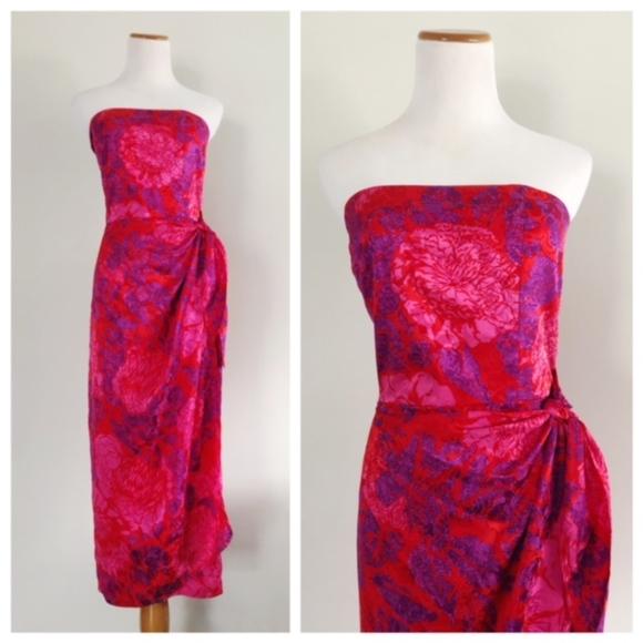 eecba4d318 Vintage 80s Strapless Silk Dress Floral Honeymoon.  M 5aa5da4b6bf5a66c48c3b41d